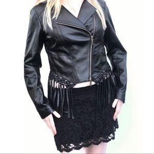Black genuine leather biker jacket fringe moto